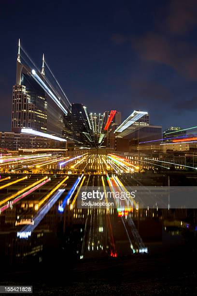 Cityscape: Nashville Tennessee skyline at night with streaks