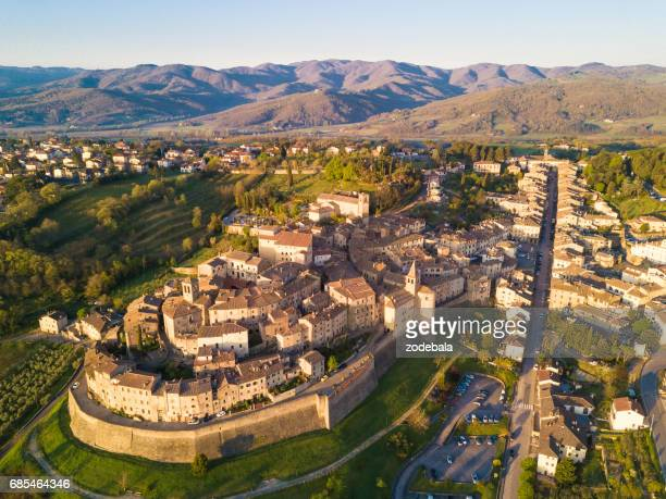 Cityscape of Anghiari in Tuscany from above, Italy