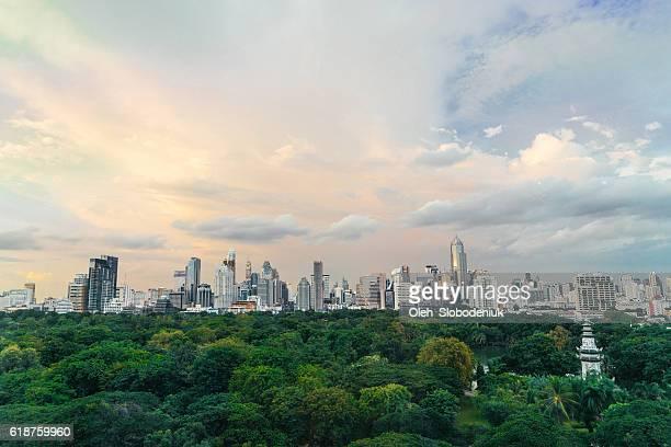 Cityscape of Bangkok. Lumpini Park