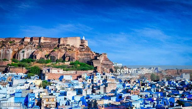 Bleu paysage urbain de la ville et Mehrangarh Fort-Jodhpur, Inde