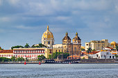 Cityscape photo of old town Cartagena, Colombia with the Church of Saint Peter Claver.