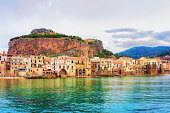 Cityscape of Cefalu old town and the Mediterranean Sea, Palermo region, Sicily island in Italy