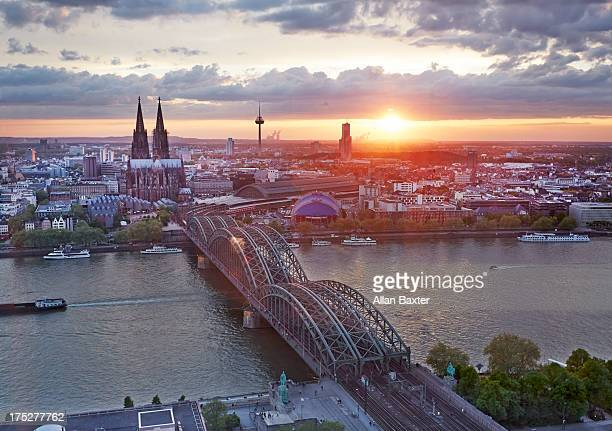 Cityscape of Cologne at dusk