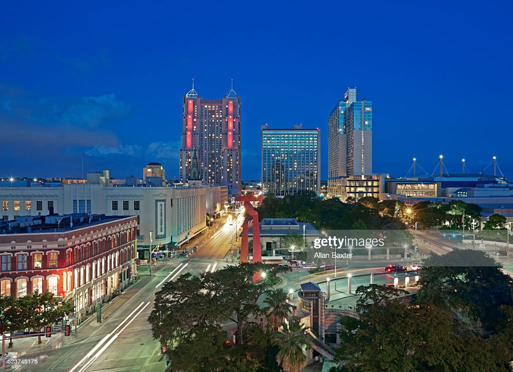 Cityscape of downtown San Antonio at night