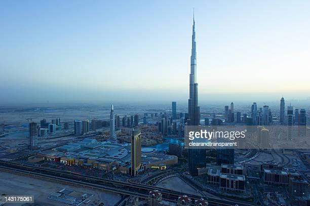 Cityscape of Dubai, India at sunset