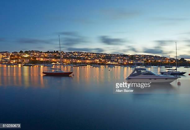 Cityscape of Falmouth illuminated at dusk