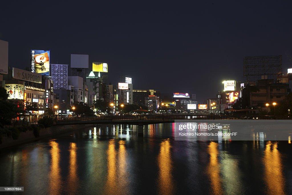 Cityscape of Fukuoka city at night, Fukuoka  Prefecture, Kyushu, Japan