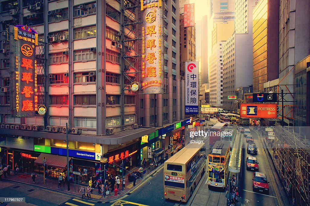Cityscape of Hong Kong in dusk : Stock Photo