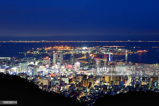Cityscape of Kobe city from Mt. Shisho at night, Hyogo Prefecture, Honshu, Japan