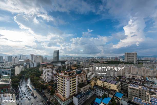 Cityscape of Kunming with Blue Sky and White Cloud, China