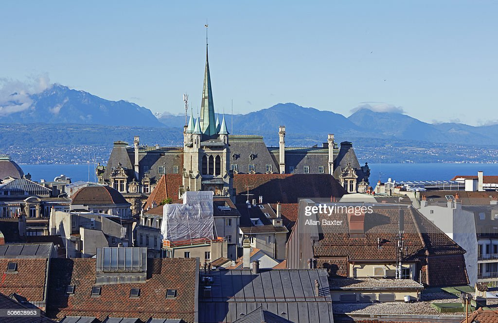 Cityscape of Lausanne and the alps