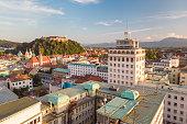 Aerial panoramic view of Ljubljana, capital of Slovenia at sunset.