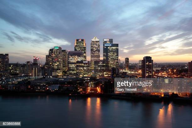 Cityscape of London Canary Wharf at sunset