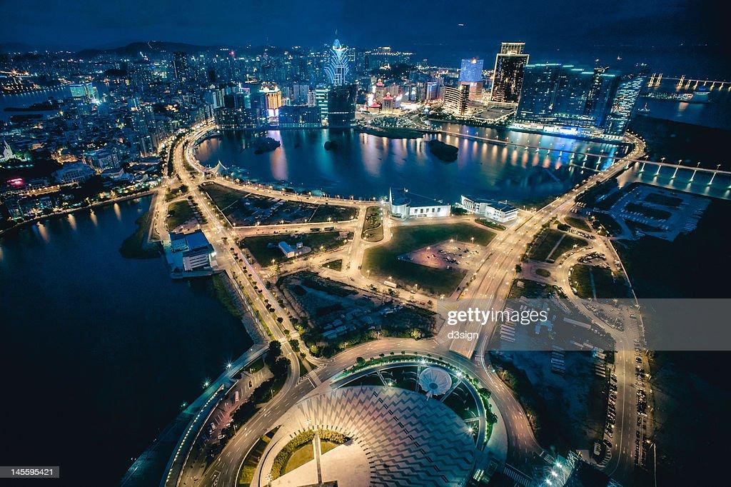 Cityscape of Macau at night