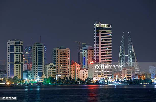 Cityscape of Manama illuminated at night