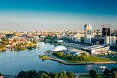 Aerial view, cityscape of Minsk, Belarus. Summer season, sunset time. Nyamiha, Nemiga district