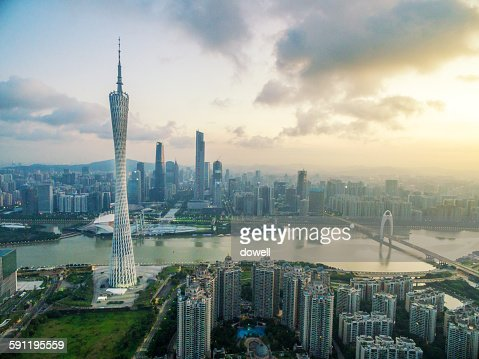 Cityscape of modern city with high angle view