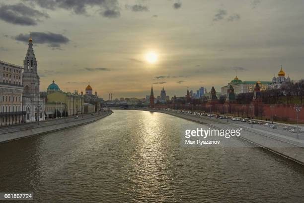 Cityscape of Moscow with Kremlin at sunset