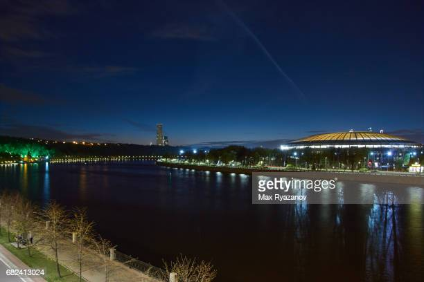 Cityscape of Moscow with Luzhniki Stadium at dusk