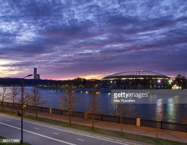 Cityscape of Moscow with Luzhniki Stadium during a beautiful sunset