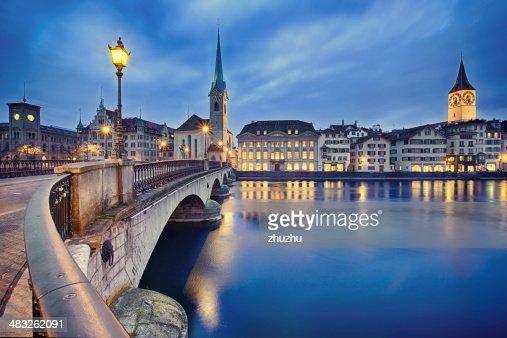 Stadtansicht von Nacht, Zürich, Schweiz : Stock-Foto