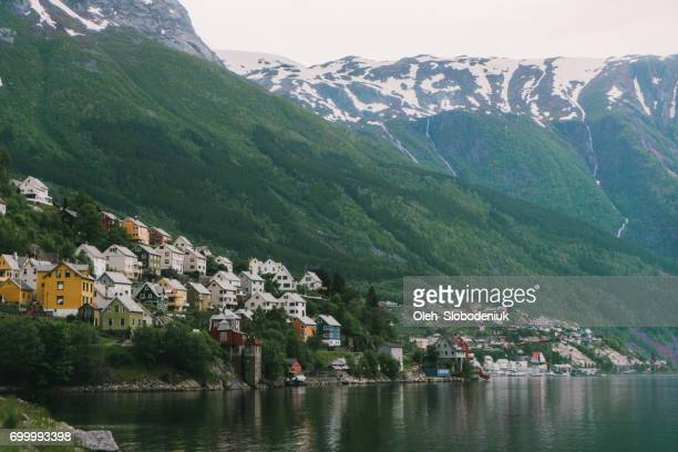 Cityscape of Odda town in Norway