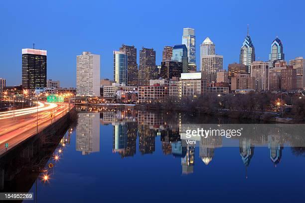 Cityscape of Philadelphia, Pennsylvania with reflection