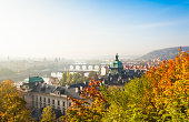 Cityscape of Prague with Vltava river in autumnal morning (Prague, Czech Republic).