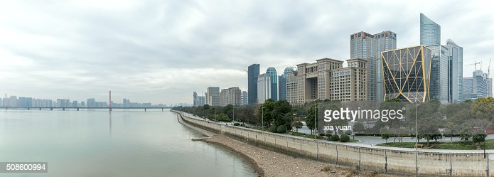 Cityscape of Qianjiang New Town CBD along the Qiantang River,Hangzhou,China : Foto de stock