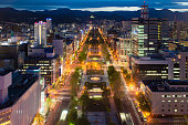 Cityscape of Sapporo at odori Park, Hokkaido, Japan.Sapporo is the fourth largest city in Japan.