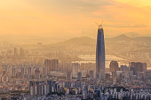 Cityscape of Seoul with golden light