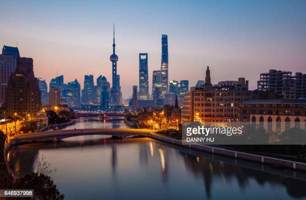cityscape of Shanghai at dawn