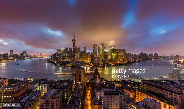 cityscape of Shanghai bund at dawn