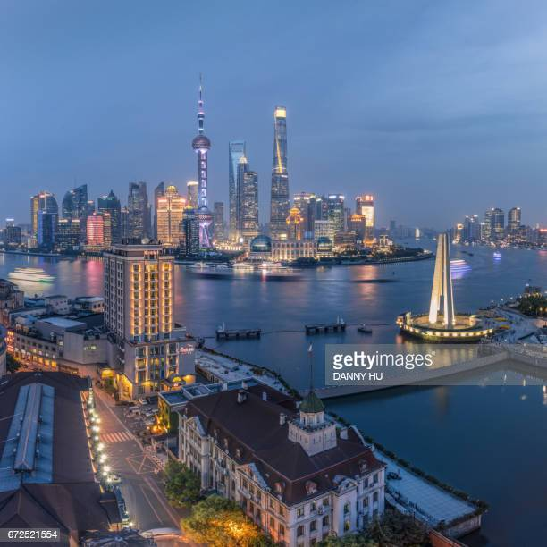 cityscape of Shanghai bund at dusk