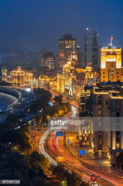 cityscape of Shanghai bund in the evening