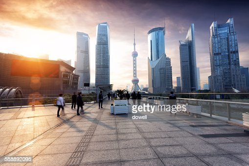 Cityscape of Shanghai with sunset