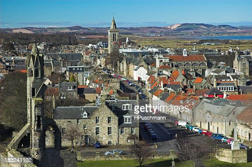 Cityscape of St Andrews showing a view towards mountains