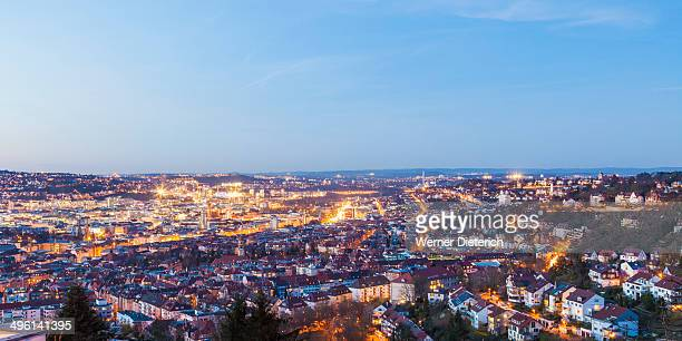 Cityscape of Stuttgart at night, Germany
