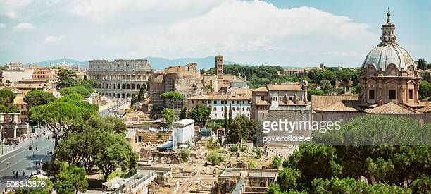 Cityscape of The Colosseum and Roman Forum in Rome, Italy