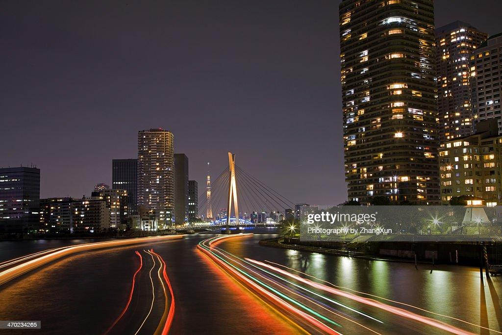Cityscape of Tokyo kachidoki at night : Stock Photo
