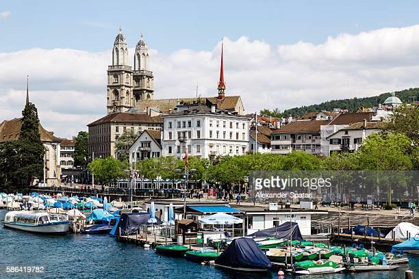 Cityscape of Zurich with Grossmunster Cathedral, Zurich canton, Switzerland
