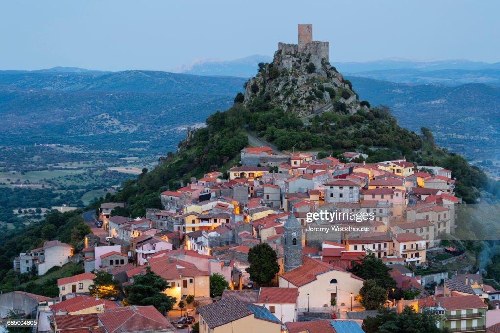 Cityscape On Hill Burgos Sassari Italy Stock Photo   Getty ...