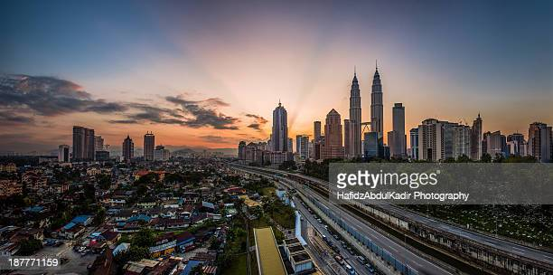 Cityscape: Ray of lights in the morning at KL