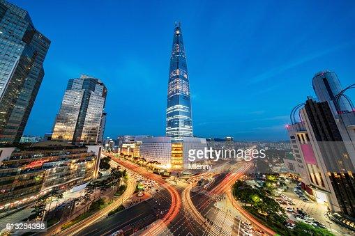 Cityscape Songpagu Skyscrapers Lotte World Tower at Night Seoul