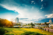 Cityscape View Of The Modern Architecture Of Minsk, From District Nemiga, Nyamiha. Belarus. Sunset In Town