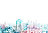 Cityscape view overlay with color and leave copy space on top to adding text,Business concept.