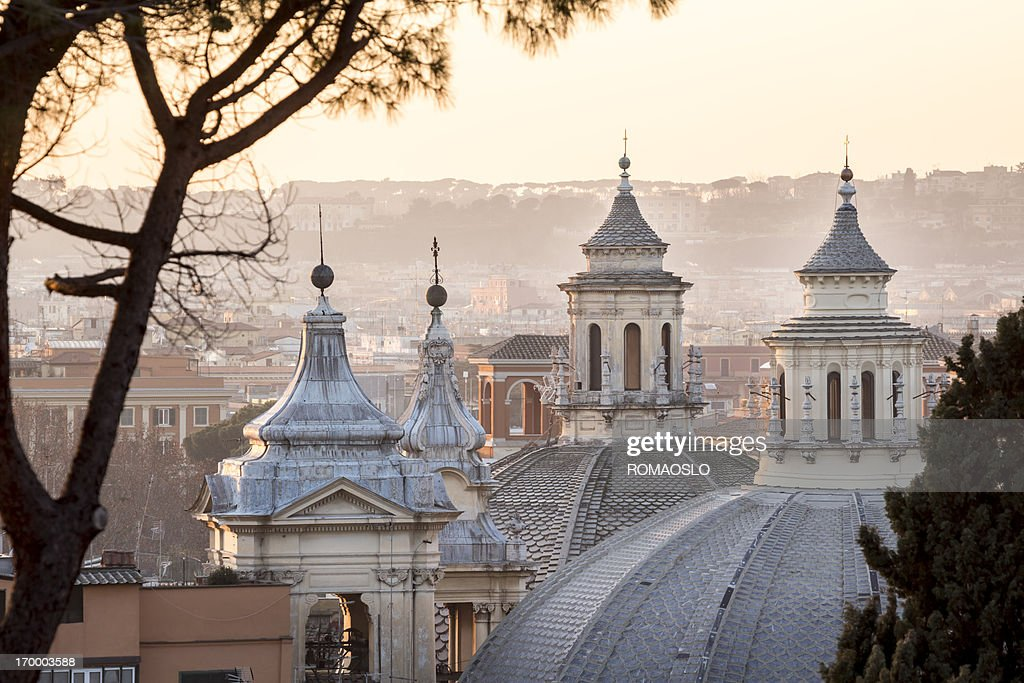 Cityscape with church cupolas, Rome Italy