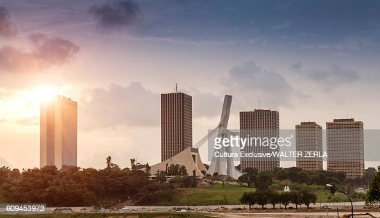 Cityscape with skyscrapers and St Pauls cathedral, Abidjan, Ivory Coast, Africa