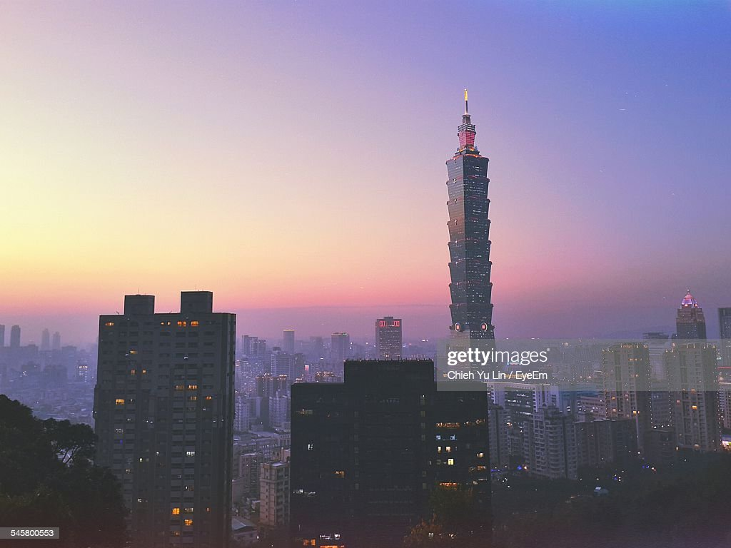 Cityscape With Taipei 101 Against Orange Sky During Sunset