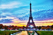 Cityscape with the Eiffel tower in Paris, France at surise